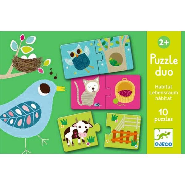 Lernspiel - Puzzle duo/trio: Wo wohne ich ?