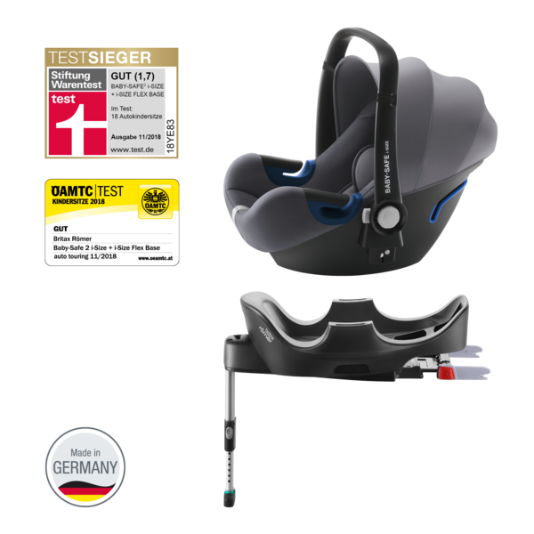 Römer Babyschale Baby Safe 2 i-Size Bundle mit Flex Base | Storm Grey