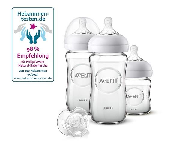Philips Avent Natural Flaschenset SCD303/01, für Neugeborene aus Glas, transparent, 3 Flaschen und S